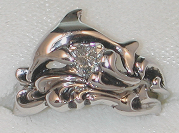dolphins wedding rings for women Dolphin Waves Wedding Set w