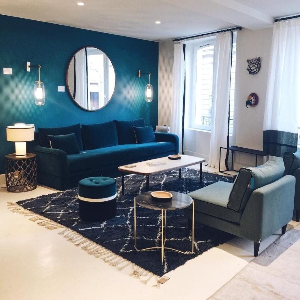 Salon Gris Et Bleu Canard magnifique décoration salon gris et bleu canard