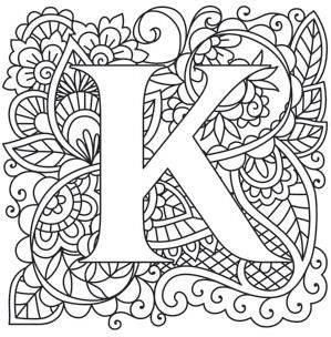 Mendhika Alphabet Urban Threads Unique And Awesome Embroidery Designs Coloring Letters Embroidery Letters Letter Patterns