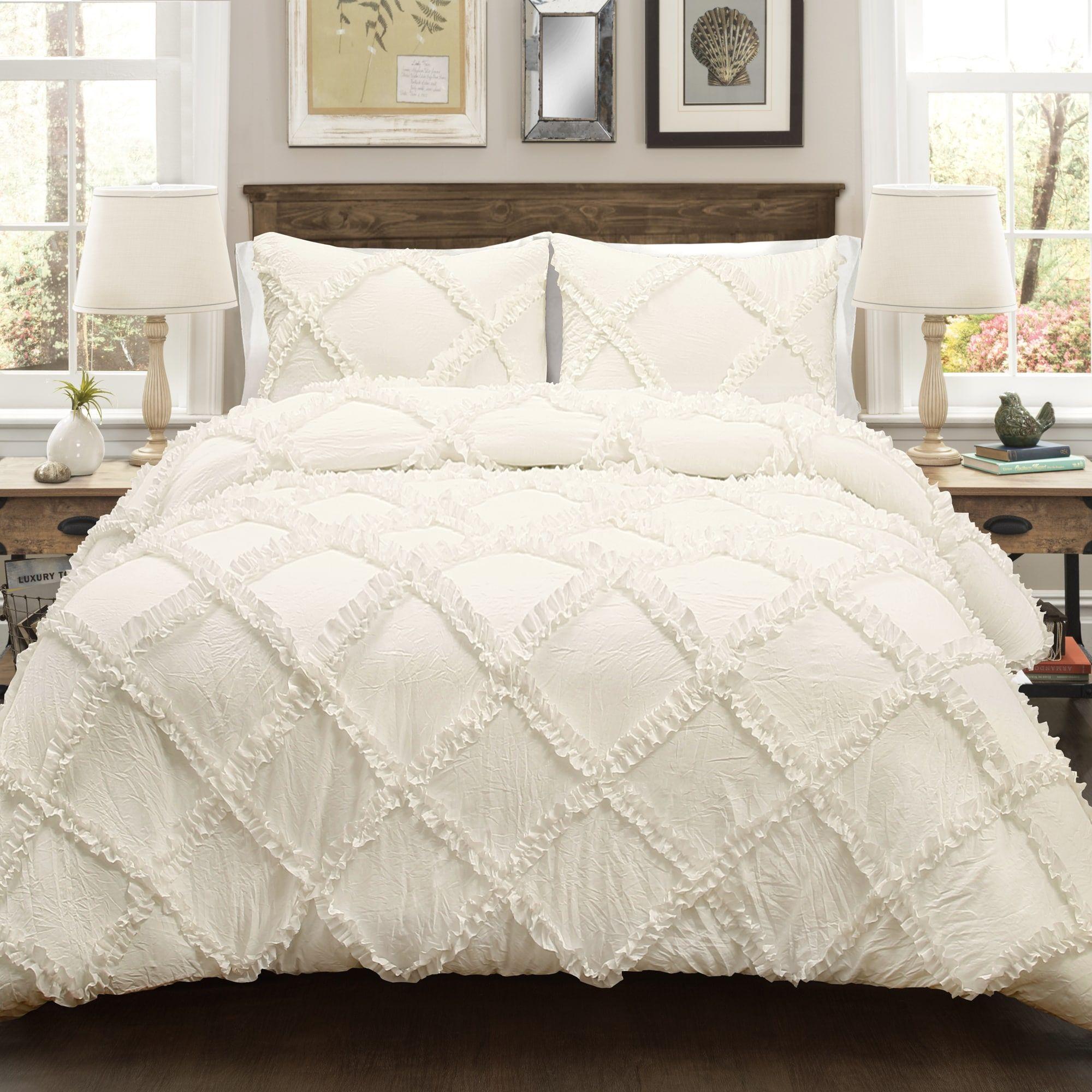 Lush Decor Ruffle Diamond 3 Piece Comforter Set Off White Beige King Comforter Sets Lush Decor Shabby Chic Room