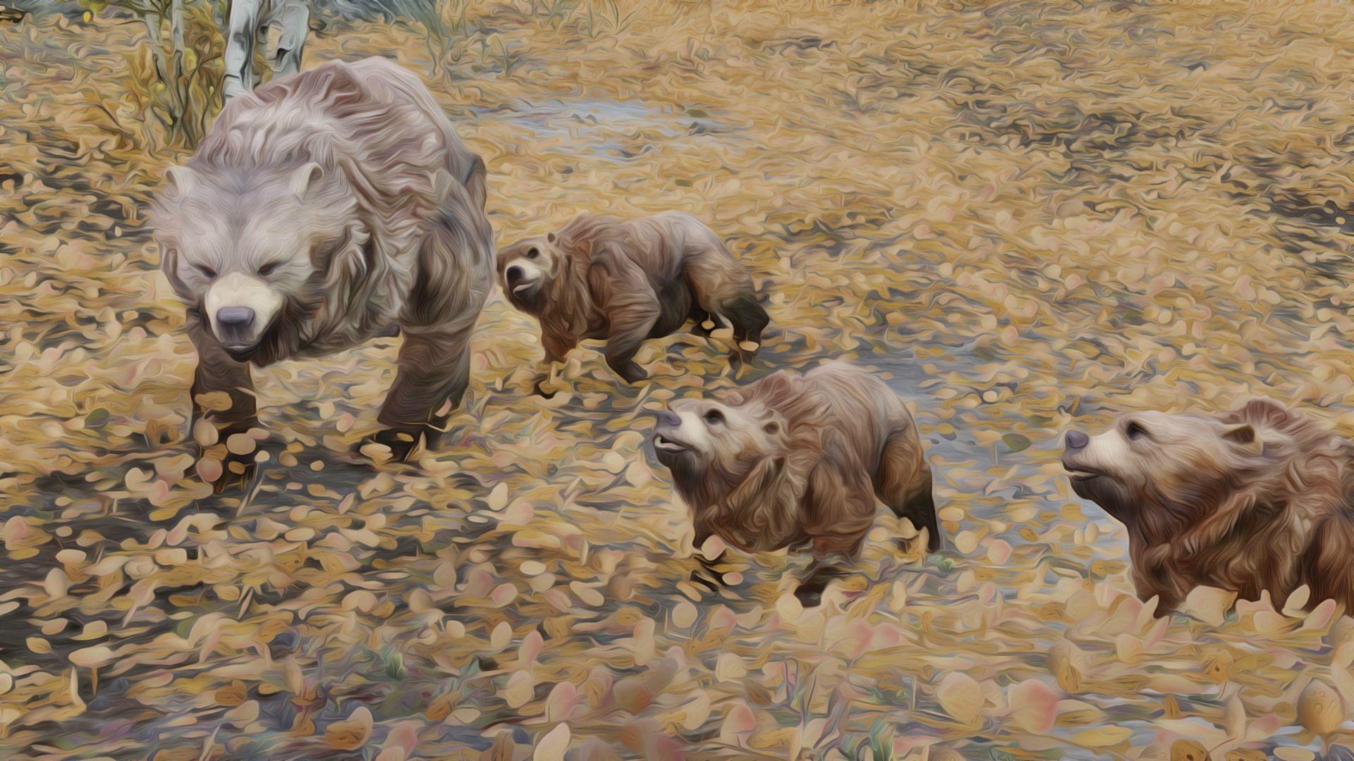 A Family of Bears - oil filtered Skyrim