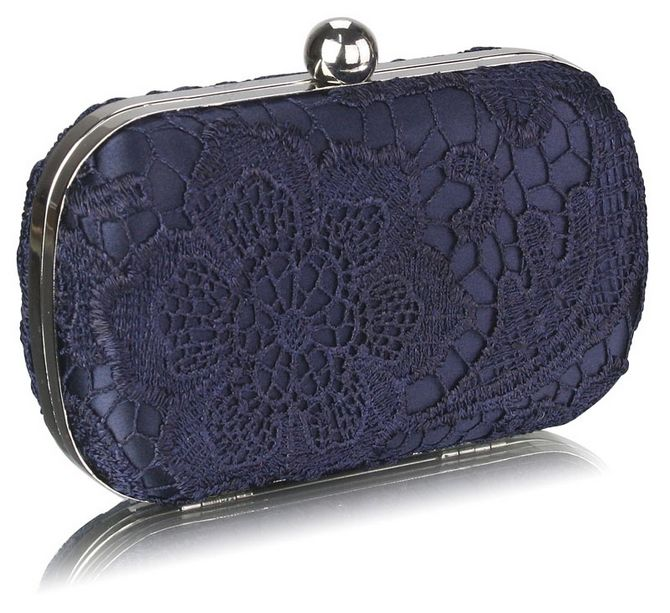 Wedding box clutch bag in navy satin and lace. http://www.stardust ...