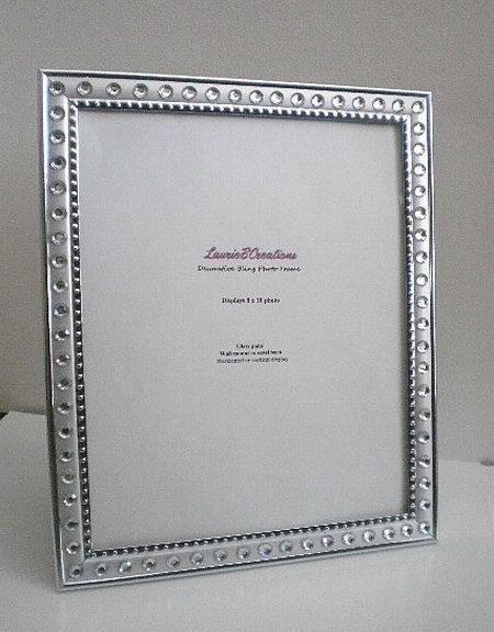SILVER & BLING 8 x 10 Picture Frame  silver w/ clear rhinestones by LaurieBCreations, $15.00