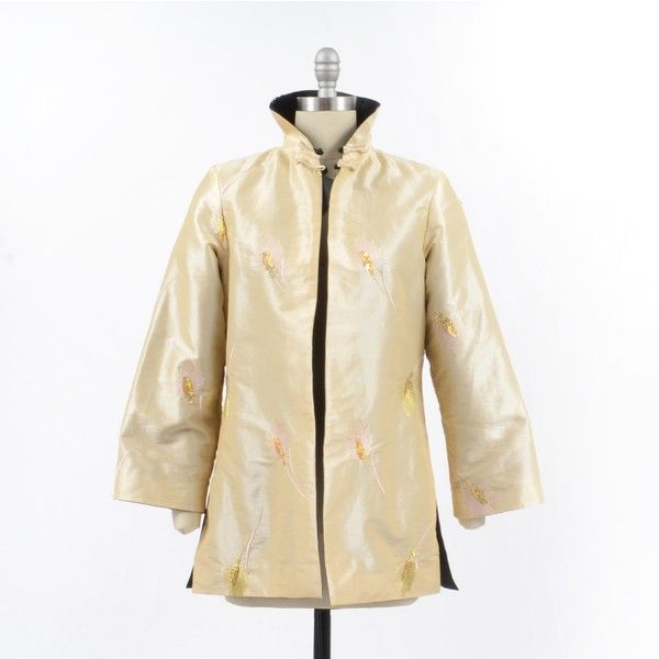 Grace Chuang Reversible Jacket ($96) ❤ liked on Polyvore featuring outerwear, jackets, white faux jacket, reversible jacket, gold jacket, faux-leather jacket and embroidered jackets