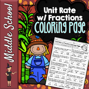 Unit Rate Complex Fractions Word Problems Color By Number Math