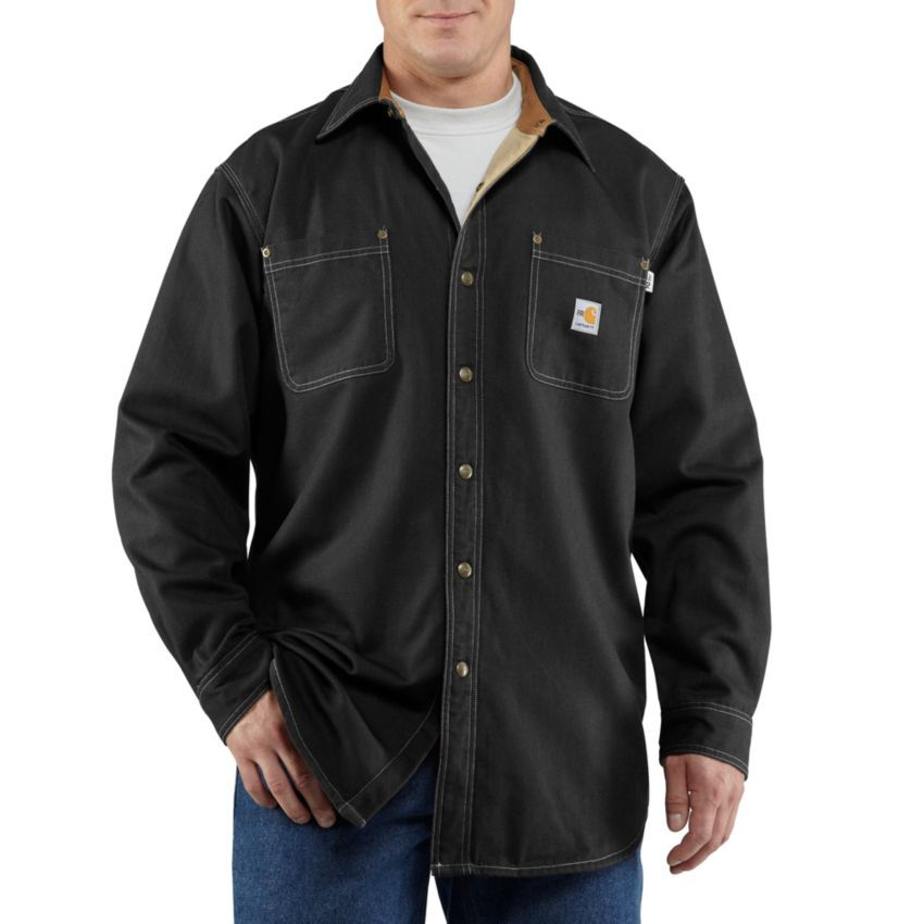 carhartt men s flame resistant canvas shirt jacket on cheap insulated coveralls for men id=19665