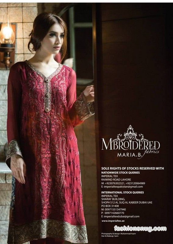 Top 10 Pakistani Party Dresses Designs For Winter , Maria B