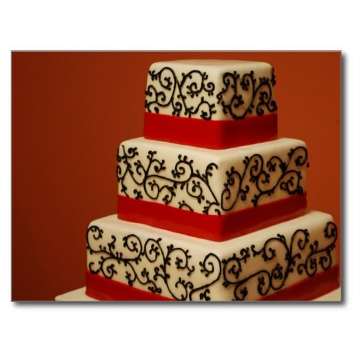 White Wedding Cake Black Lace Red Ribbon post card