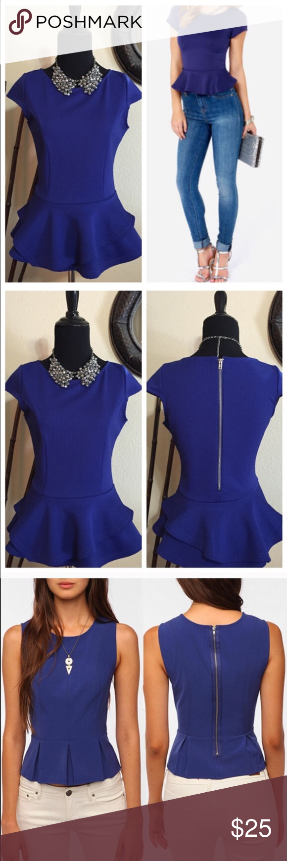 Cute Peplum Top! Cute blue Ruffled peplum top! NWOT! Super cute with almost any bottoms. Jeans, skirt, even shorts. Royal blue in color. profile pics are styling ideas onlyTTS. trades Arden B Tops