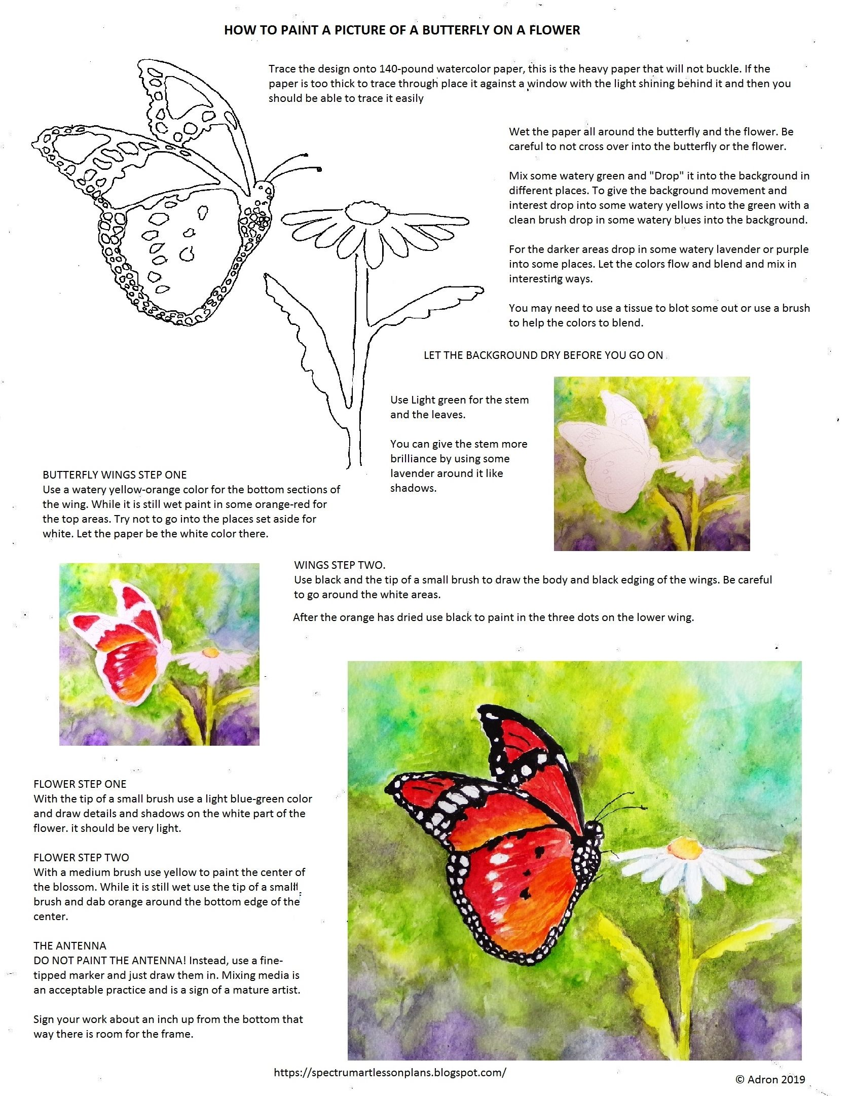 How To Paint A Picture Of A Butterfly On A Flower