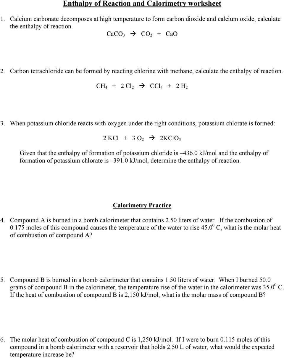 Calorimetry Worksheet Answer Key Enthalpy Of Reaction and
