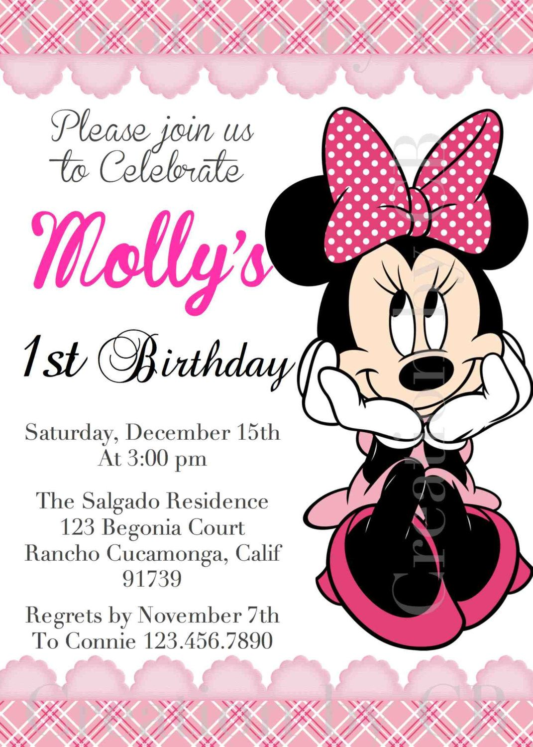 This graphic) Minnie Mouse Birthday Invitation, Minnie Mouse ...