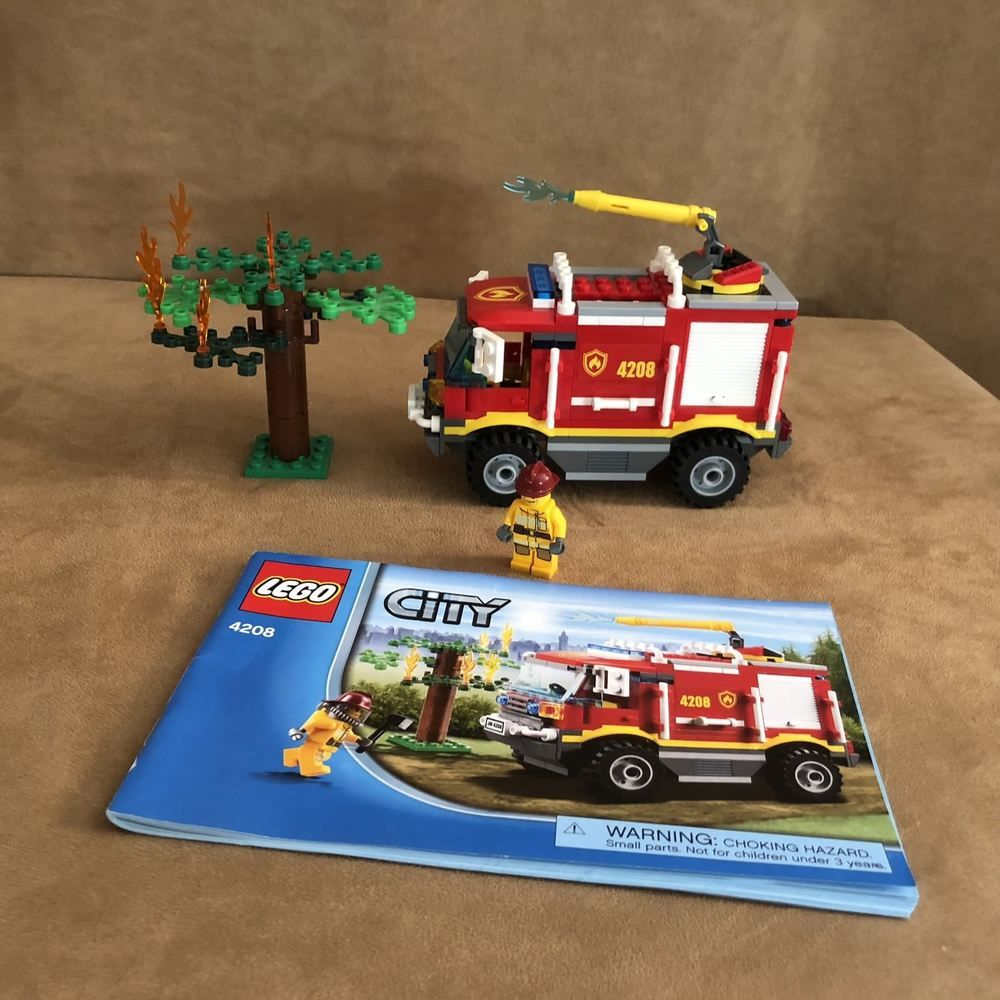 4208 Lego Complete City Fire Trucks Instructions Fireman Buring Tree