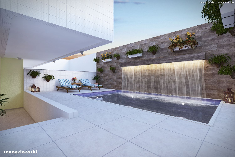 Projeto 3d piscina com cascata e luz de led mobili rio - Luz led casa ...