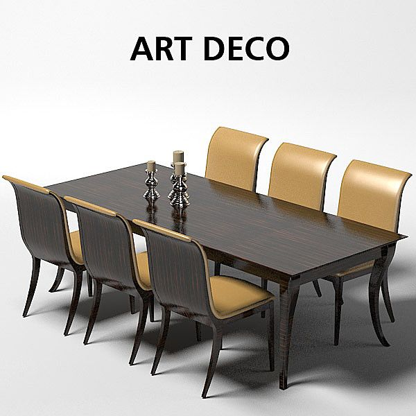 Oak Design Art Deco Dining Table Chair Stool 1021 1019 Model Available On Turbo Squid The Worlds Leading Provider Of Digital Models For Visualization
