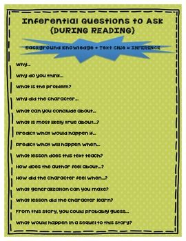 Free - Inferential Questions to Ask During Reading