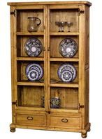 Rustic Pine Furniture 2547 Glass Door Hutch With Plate Holder at Sutherlands