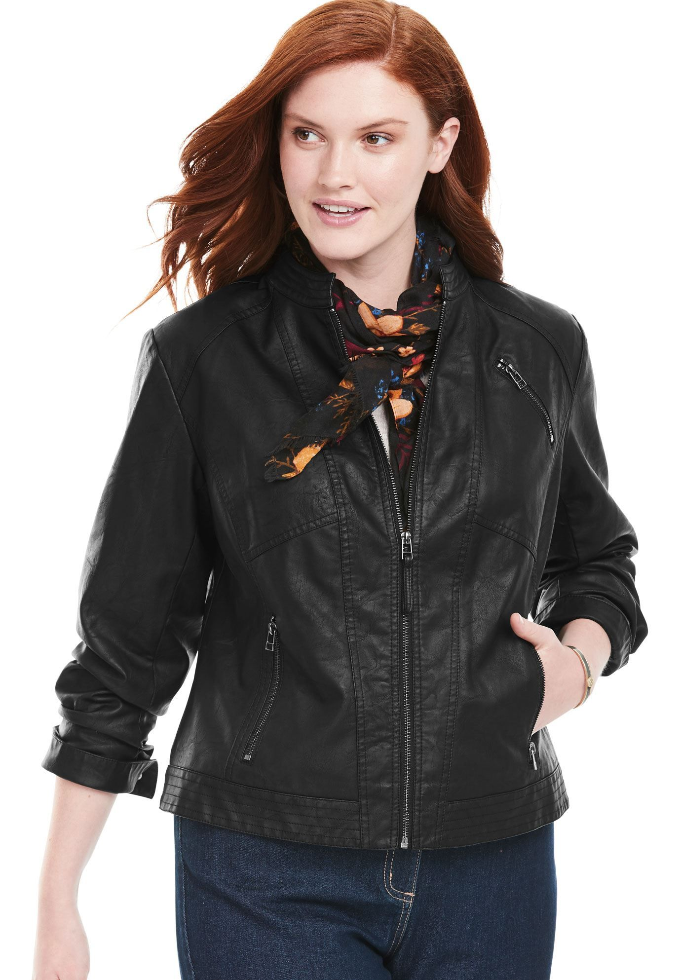 0506a3ab6b1 Zip-Front Faux Leather Jacket - Women s Plus Size Clothing ...