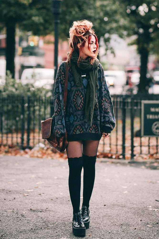 Sweater Dress With Stockings  Edgy grunge style from the 90s to inspire your street style 840062136724886484