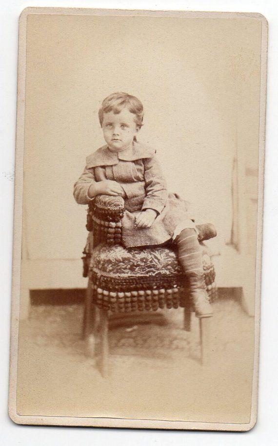 Victorian Child Sitting On A Chair Carte De Visite Civil War