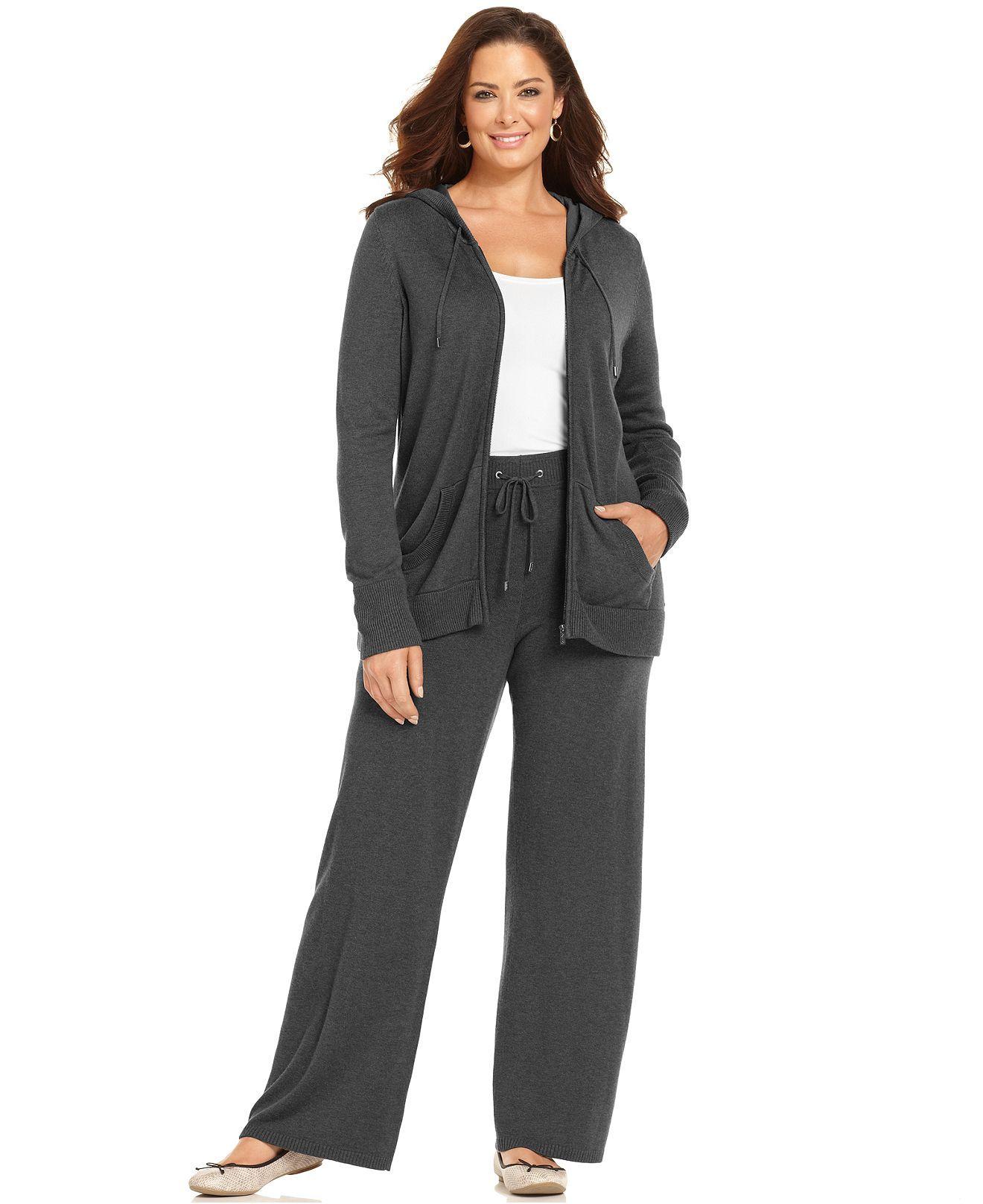 Calvin Klein Plus Size Long-Sleeve Hoodie Sweater & Knit Drawstring Lounge Pants