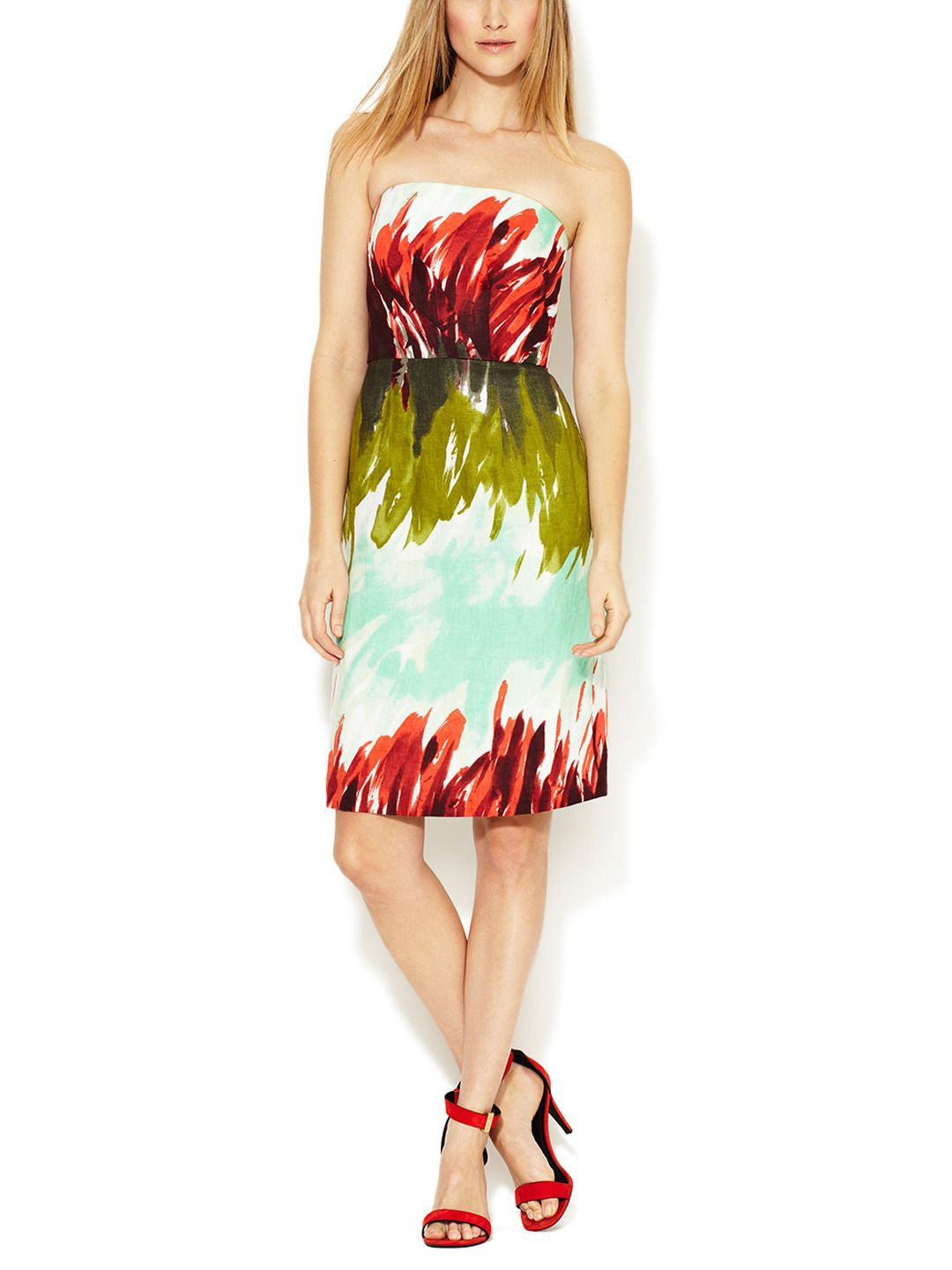 Kali linen printed strapless dress from new spring essentials