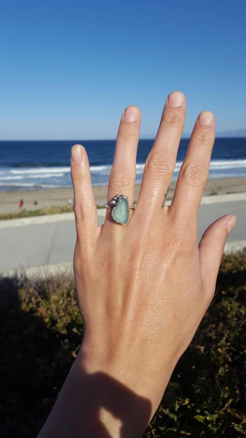 Stacker rings Pale blue seaglass stacker ring UK size T Silver seaglass ring Beach glass Sea glass ring Recycled silver ring