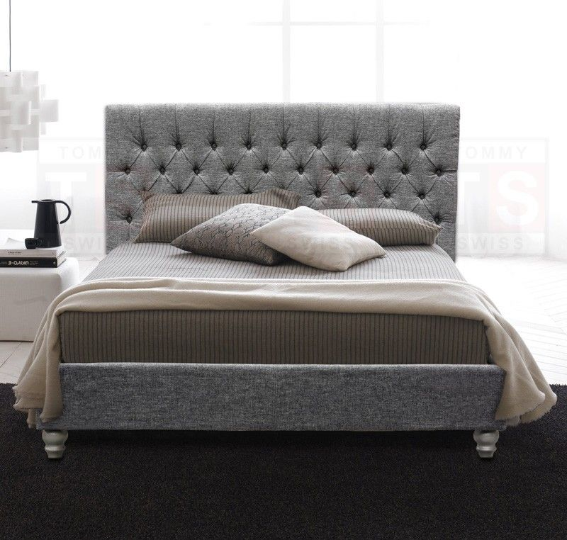 Queen Size Upholstered Button Fabric Bed Frame (Brooklyn Collection, Space  Grey)