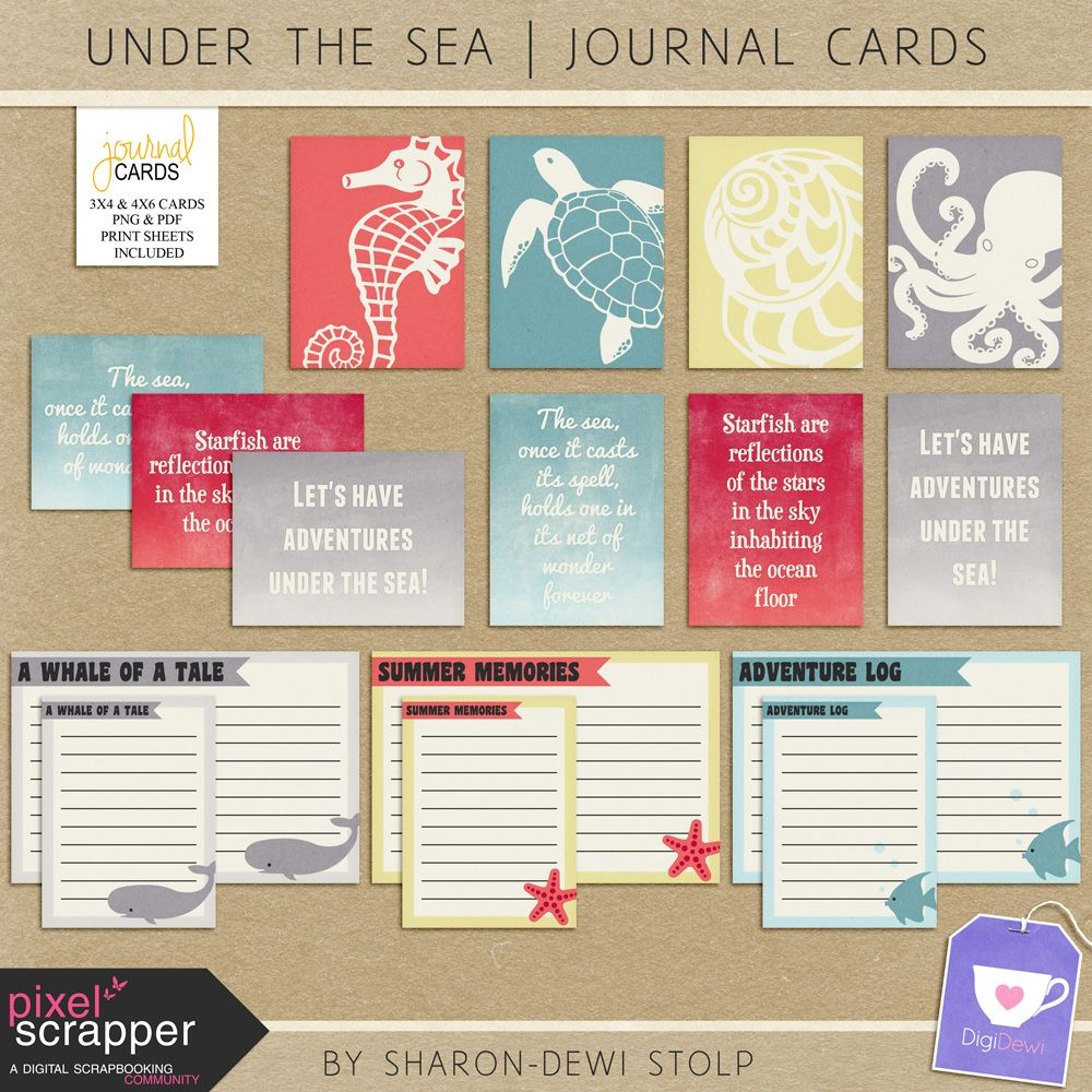 Free Freebie Under The Sea Journal Cards From Subscribe To Digidewi Newsletter Project Life Freebies Journal Cards Project Life Printables