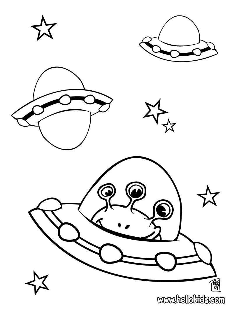 Alien In Spaceship Coloring Page Space Coloring Pages Space