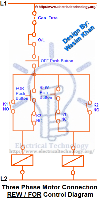 Rev For Three Phase Motor Connection Power And Control Diagrams Electrical Circuit Diagram Electrical Projects Electrical Wiring Diagram