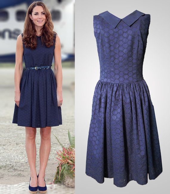 Navy blue sleeveless dress with peter pan collar and broderie ...