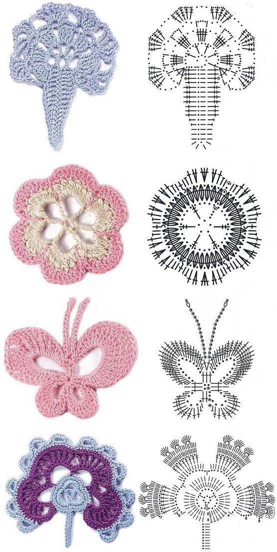 Belíssimas flores em CROCHÊ com gráfico   crochet   Pinterest ...