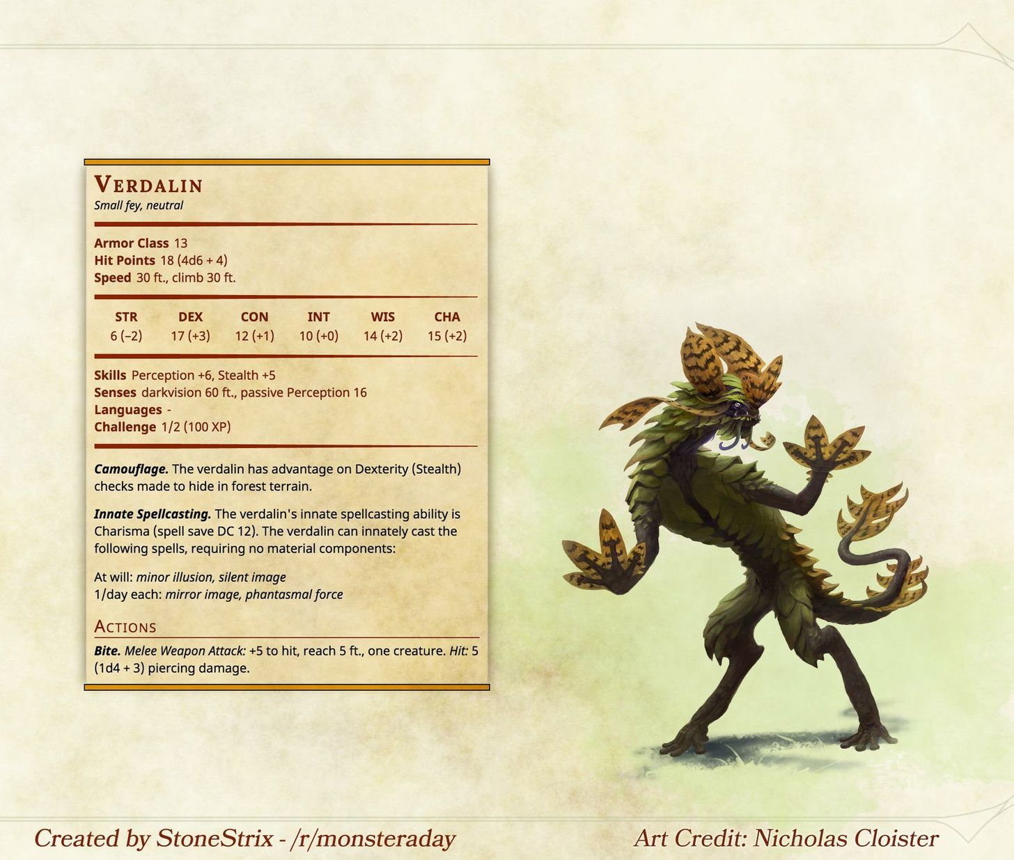 Verdalin D D Dungeons And Dragons Dungeons And Dragons Homebrew Dnd Monsters