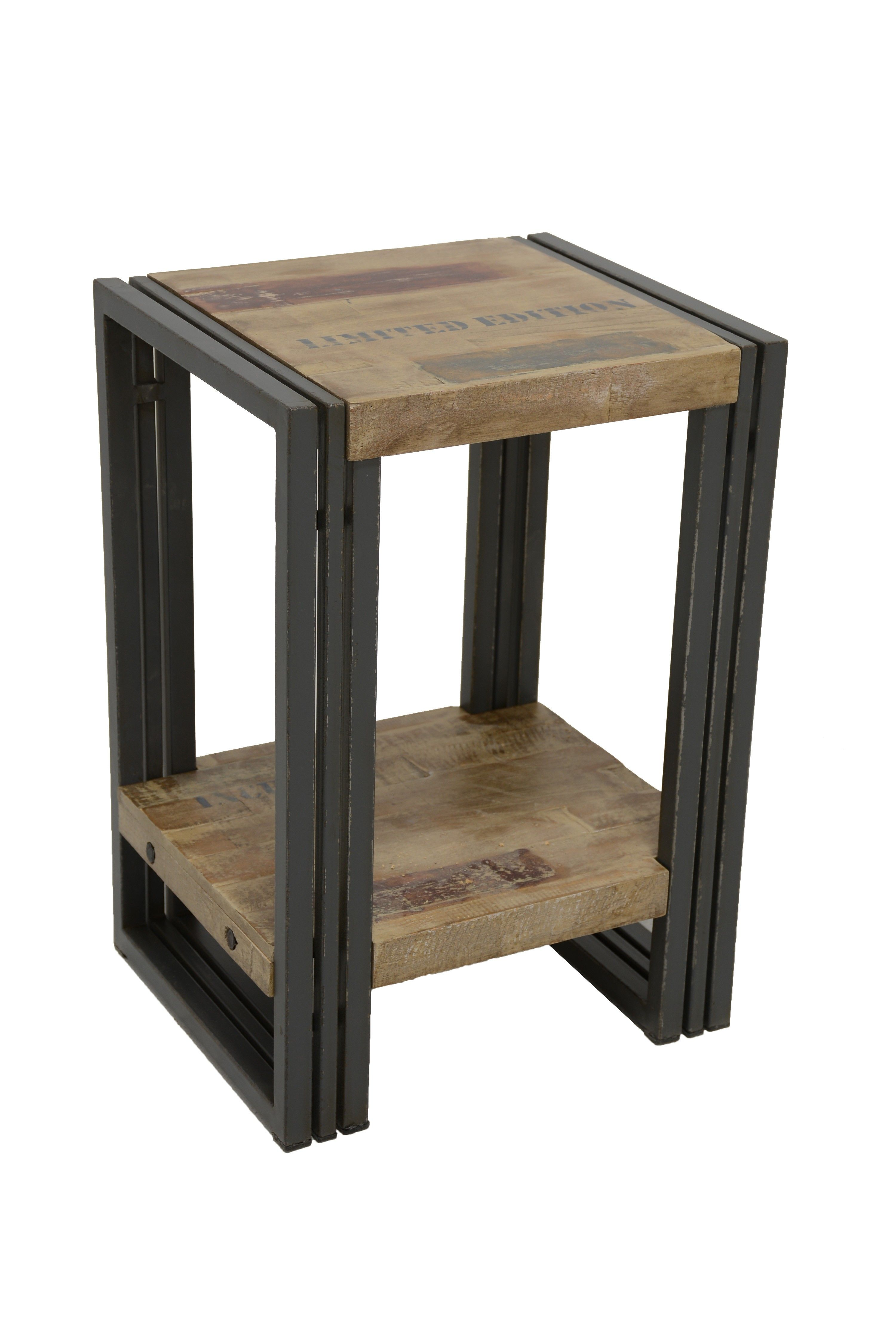 Bout De Canape Table D Appoint Hevea Recycle Blanchi Et Metal Noirci 2 Plateaux 35x30x50cm Docker Bout De Canape Canape En Bois Table D Appoint