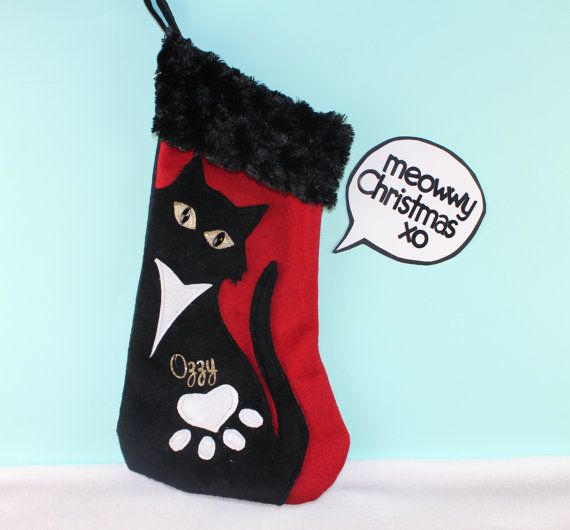 Cat Christmas Stocking Pet Stocking by VirlisaKArtistry on Etsy ...