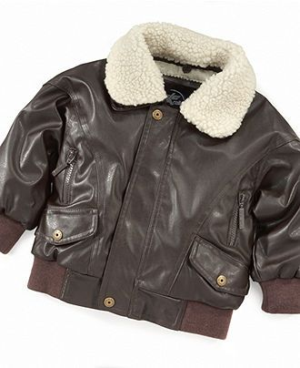 KC Collections Jacket, Little Boys Faux-Leather Aviator Jacket ...
