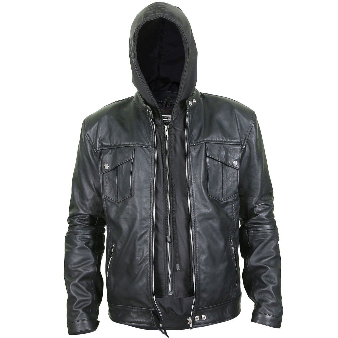 Men S Black Leather Jacket With Hoodie Leather Jacket Men Black Hoodie Men Best Leather Jackets [ 1356 x 1356 Pixel ]