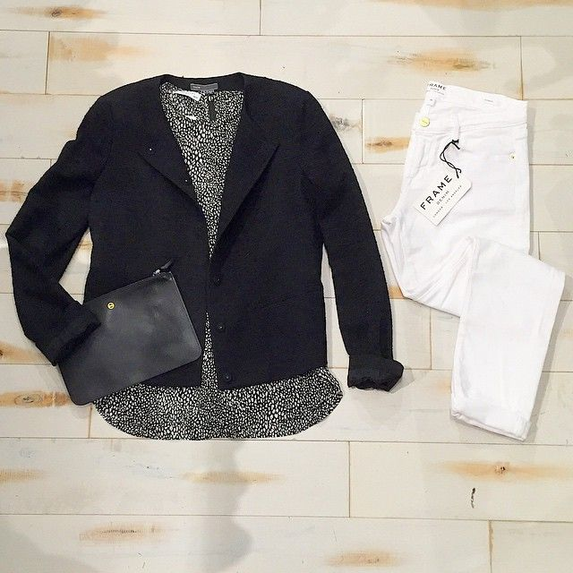 White #jeans always look #chic! Pair them with a silk #blouse and bouclé #jacket for a #sophisticated #ootd.