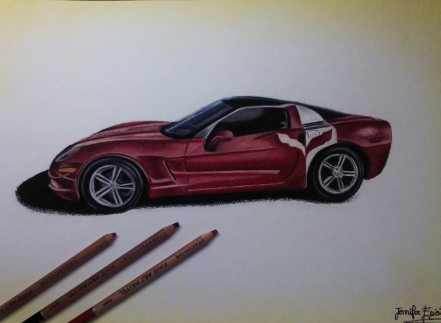"""""""Corvette C6, Red"""". Drawing realized with pastels on bamboo paper. Dimensions: cm26x40 cm.  #JenniferEgista #AutomotiveArt #Corvette #CorvetteC6 #Drawing #Cretacolor #CretacolorFineArtPastels #Chevrolet"""