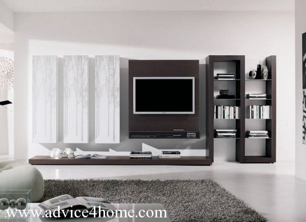 White Gray Wall And Modern LCD TV Design With Bookshelves