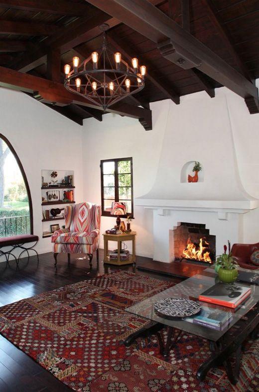 Brown Window Pane Spanish Influenced Living Room