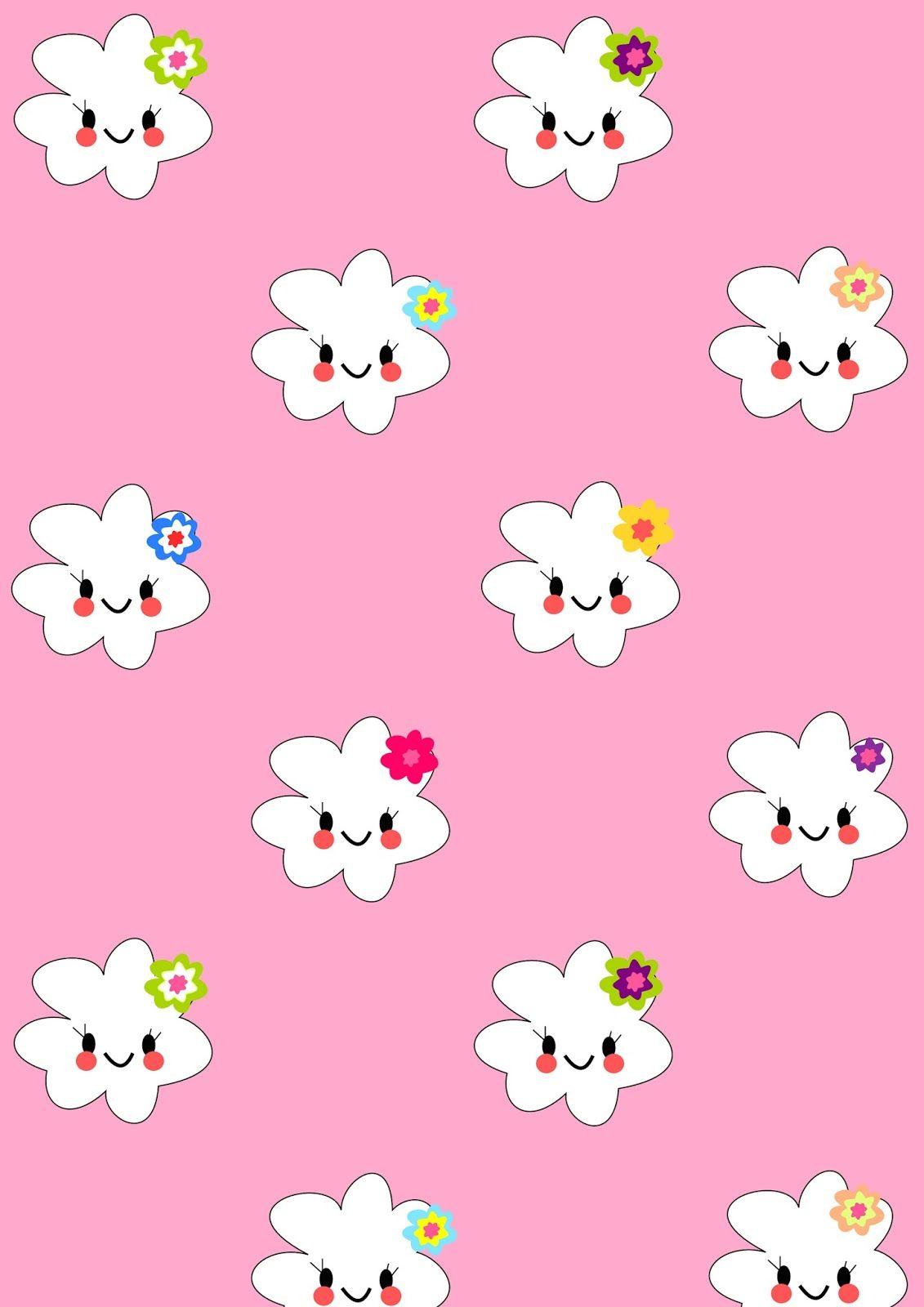 FREE printable kawaii flower paper | girlypink