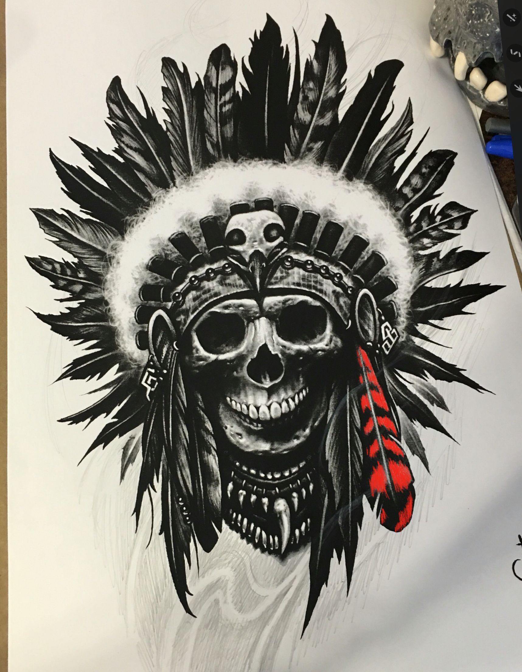 Tattoos Tattoo Indian Skull Tattoos Native Tattoos border=
