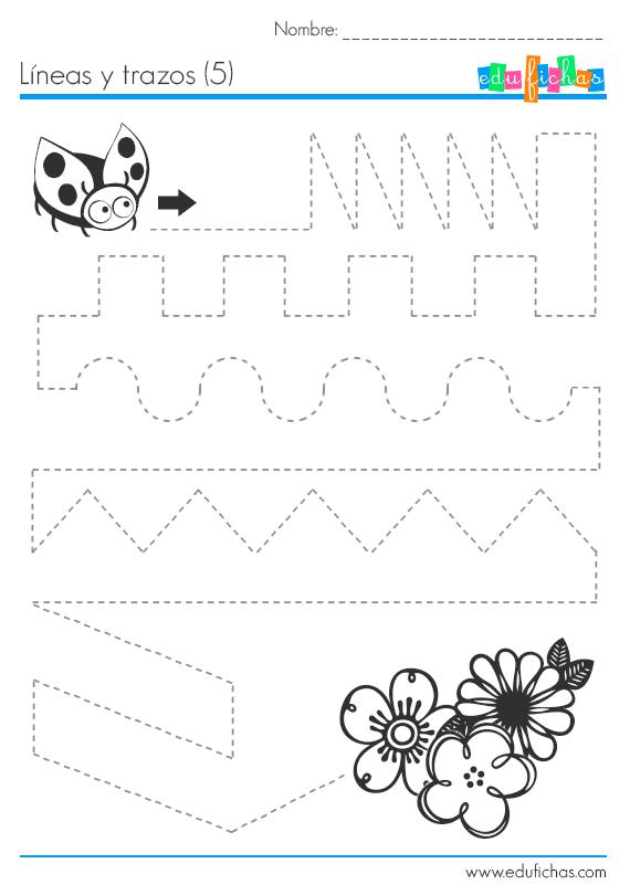 Ejercicio de dibujar y trazar líneas repasando una línea punteada ...
