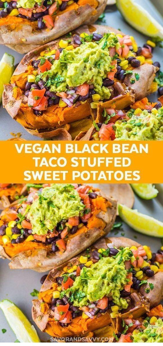 Black Bean Taco Stuffed Sweet Potatoes - New Ideas #crockpotmealprep