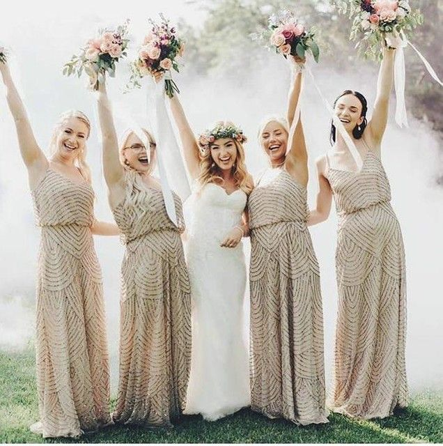 Bridal Party in Adrianna Papell\'s Art Deco Gown | Taupe Bridesmaids ...