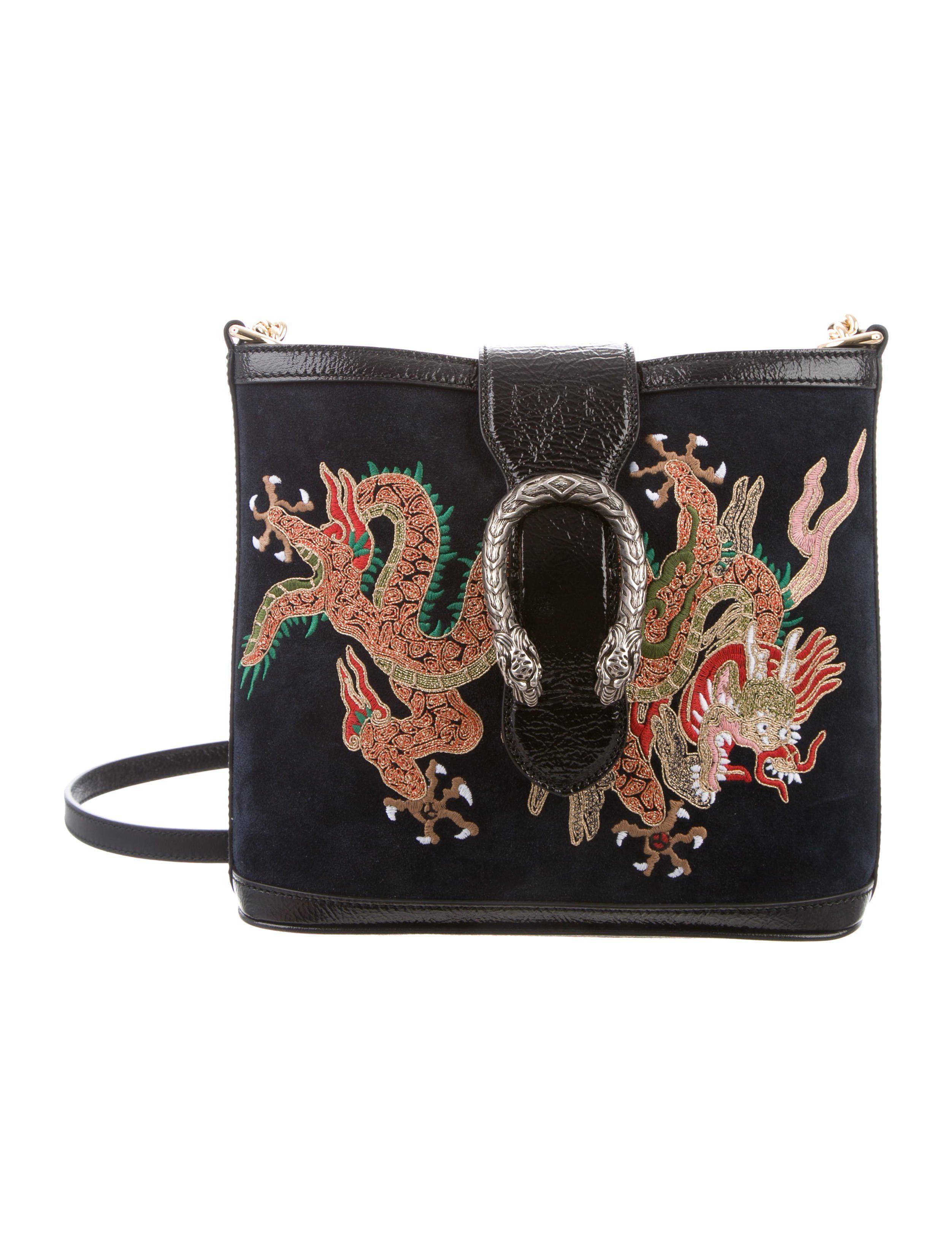 d3fae2e9859 Gucci 2018 Suede Dragon Embroidered Dionysus Bucket Bag - Handbags -  GUC198671