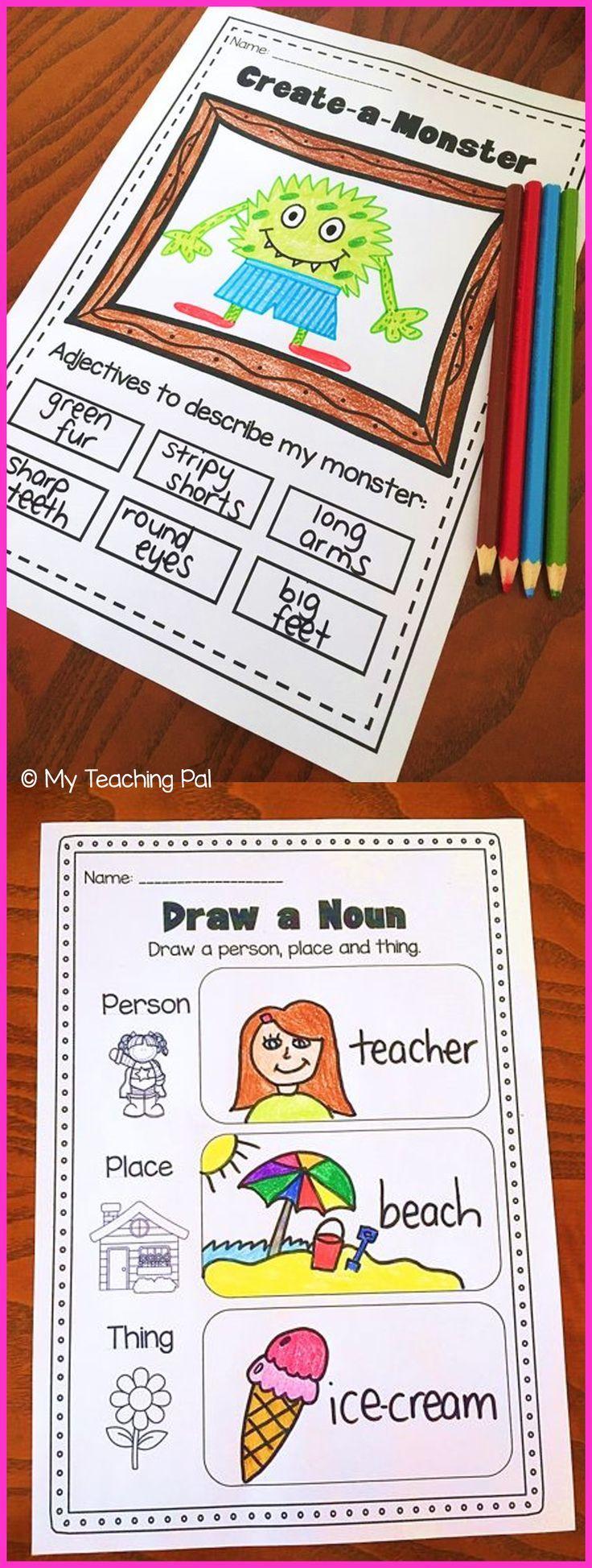 Nouns, Adjectives & Verbs Printable Worksheet BUNDLE ...