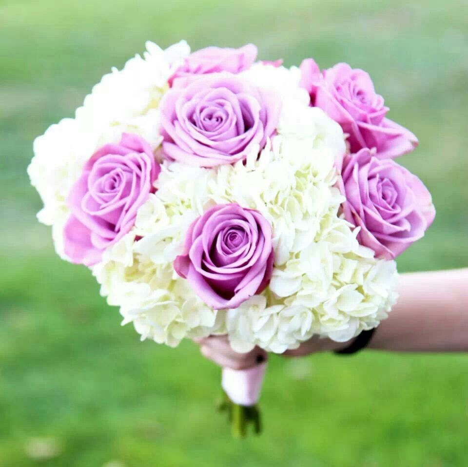 White Hydrangea With Lavender Roses Bridesmaids Bouquet Wedding